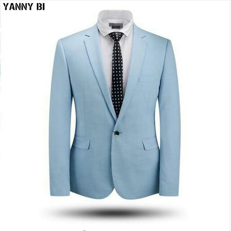 Light Blue Men Suits Jacket One Button Custom Bridegroom Tuxedos Jacket Hot Sale Formal Work Business Suits Jackets