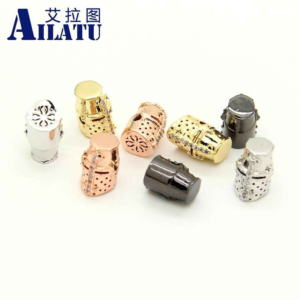 Ailatu 10 Pieces / lot High Quality Plated CZ Warrior Helmet Head DIY Beads for Stone Bracelet Jewelry