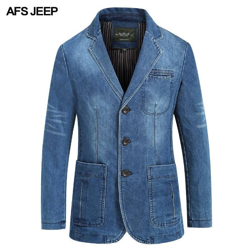 AFS JEEP Brand Denim Blazer Men Autumn Winter Cotton Denim Smart Casual Men Jacket Slim Fit Suits Plus Size 4XL blazer masculino-in Blazers from Men's Clothing    3