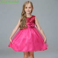Pink Flower Princess Wedding Dress Girl Sequin Tulle Dresses Children Clothing Toddler Girls Clothes Kids Party