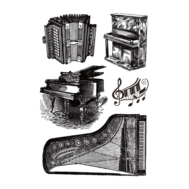 Piano Accordion Musical Clear Stamps for Scrapbooking DIY Silicone Seals Photo Album Embossing Folder Paper Maker Template