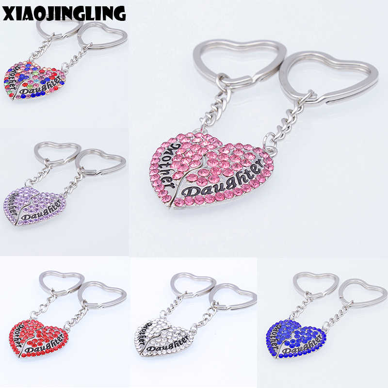 XIAOJINGLING Color Crystal Heart Keyring Keychain Fashion Women Jewelry Keyfob 'Mother Daughter' Accessories Mothers Day Gifts