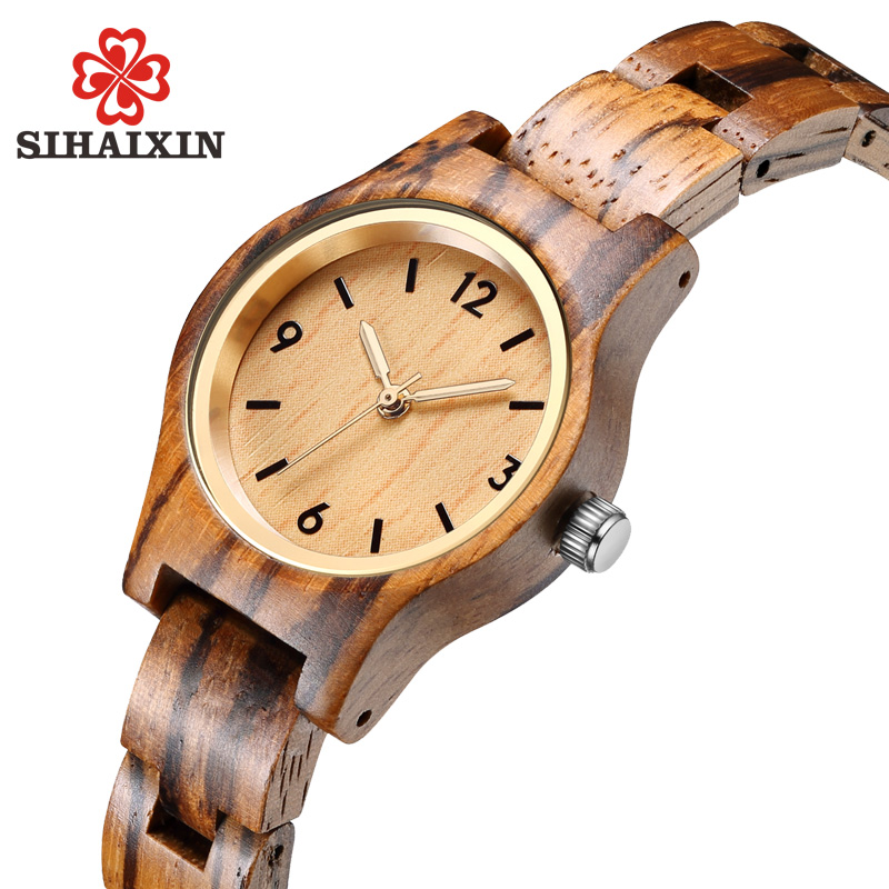 купить SIHAIXIN small zebra wood quartz wrist watch for women analog simple vintage unique sandal wooden band ladies watches по цене 1359.27 рублей