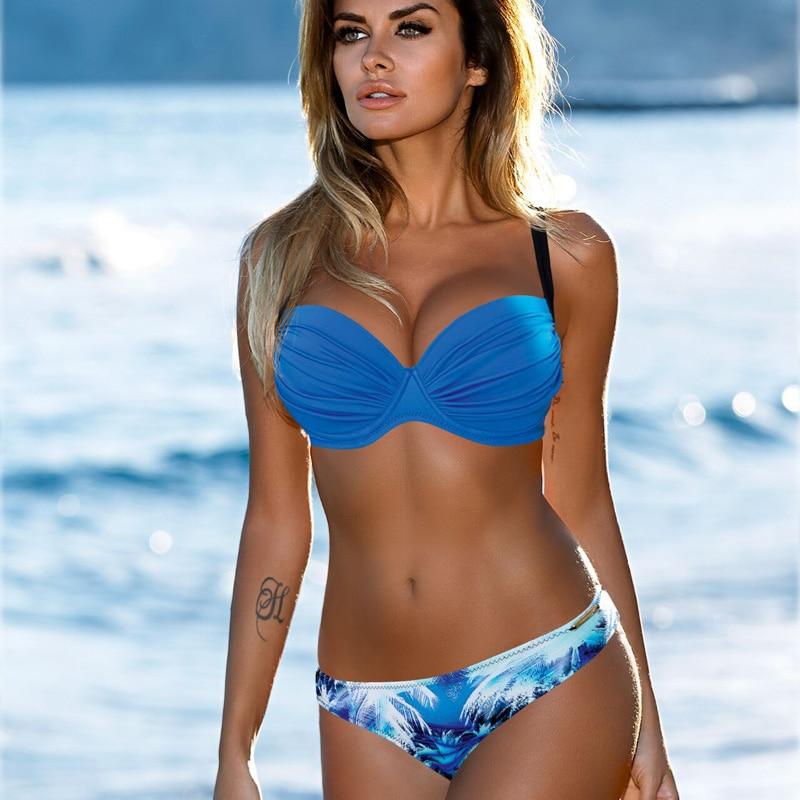 Sexy Bikini 2019 Frauen Push-Up Badeanzug Biquini Brazilian Sexy Bikini Set Bademode Bandeau Weibliche Strand Badeanzug Schwimmen Tragen