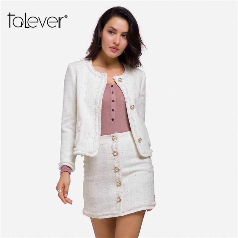 Women Slim Warm Tweed Jackets  Office Lady Elegant Singer Button Jacket Blazer 2018 Autumn Female Coat Plus Size Outwear Talever