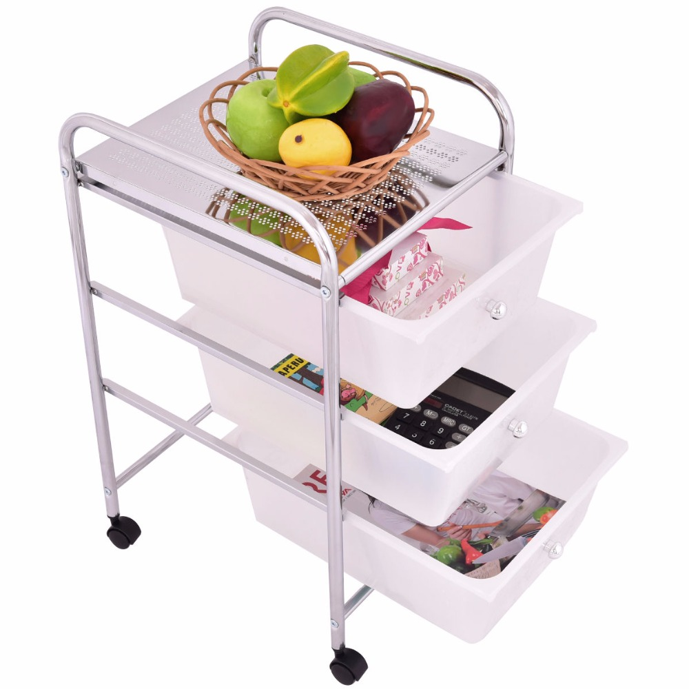 office trolley cart. Goplus 3 Drawers Chrome Studio Organizer Rolling Cart Scrapbook Supply \u0026 Paper Office Kitchen Trolley HW55239-in Coffee Tables From Furniture On S