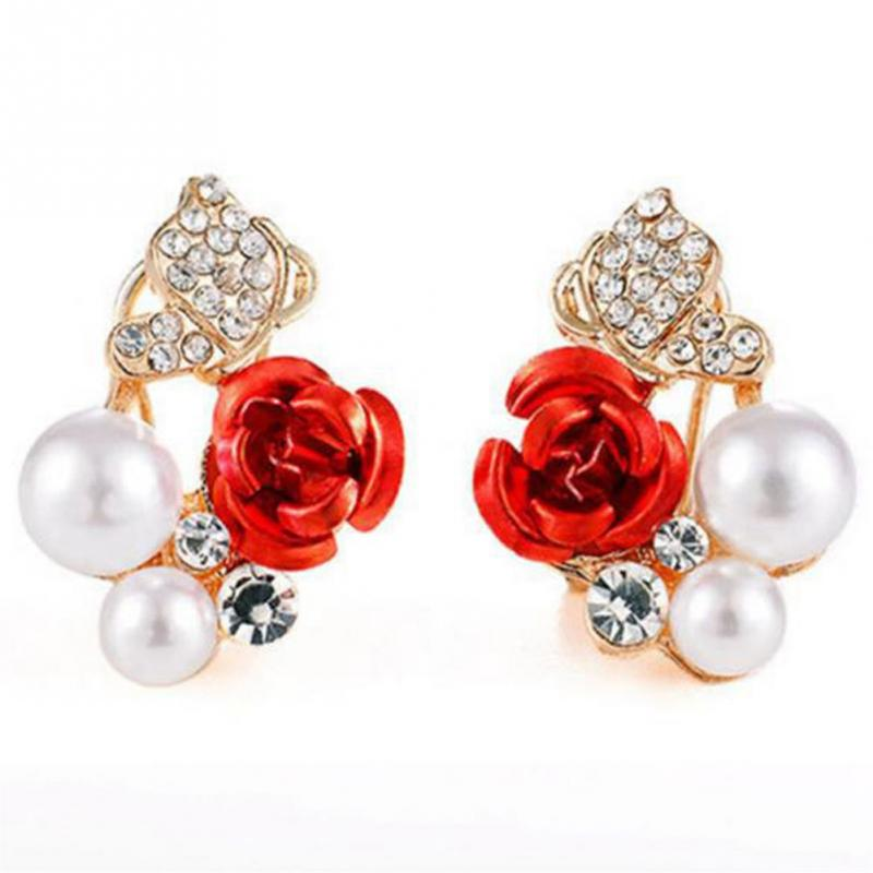 European Design Women Girl Fashionable Red Rose Ear Stud Rhinestone Faux Pearl Decoration Jewelry Accessory
