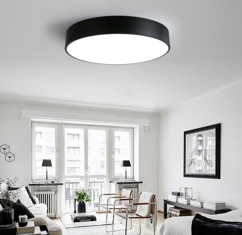 AC220V Modern Simple LED Ceiling Lamp Creative Atmosphere Living Room Bedroom Study Balcony Iron Circular Ceiling Lights 2017 new modern and simple circular led ceiling lamp black color restaurant bedroom living room balcony light free shipping