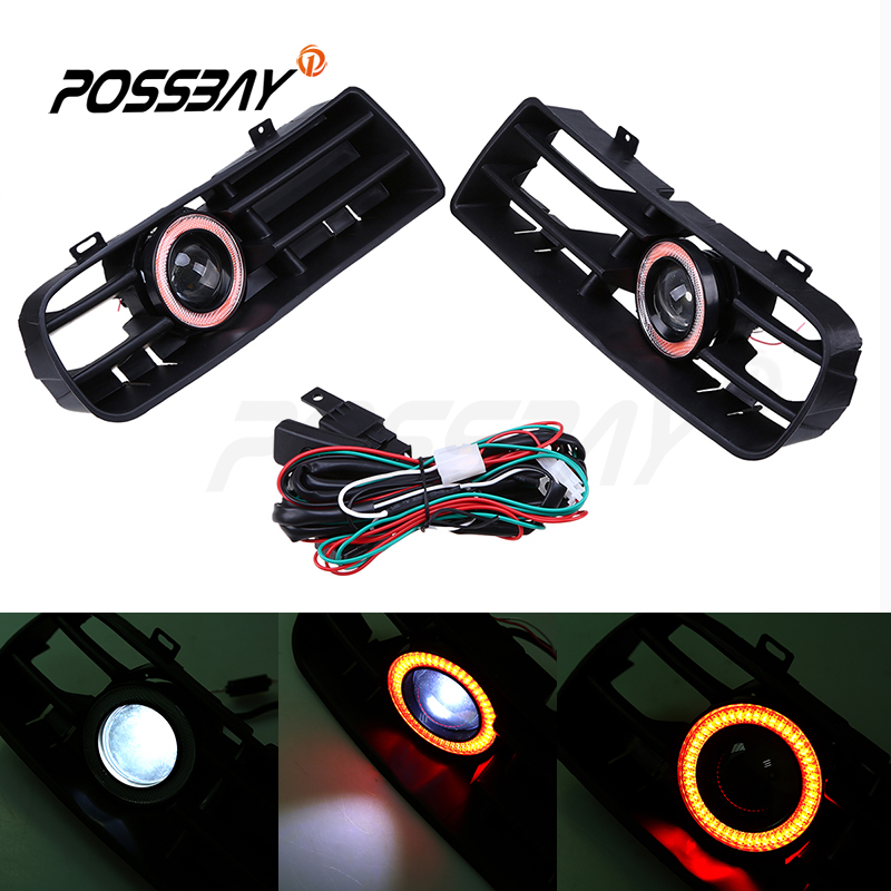 Fog Lights Assembly LED Red Angel Eyes Front Bumper Grilles Cover With Wire Harness Switch For VW MK4 1998-2006 for opel astra h gtc 2005 15 h11 wiring harness sockets wire connector switch 2 fog lights drl front bumper 5d lens led lamp