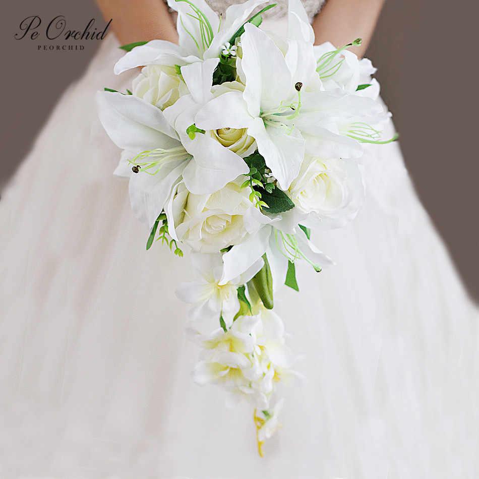 Bouquet Da Sposa A Cascata.Peorchid Lily Rose Bouquet Da Sposa Cascata Falso Ramo Da Sposa