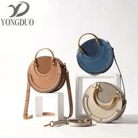 YONGDUO 2017 Fashion Retro Shoulder Bag Round Handbag Rivets Messenger Bag Rose Gold Ring Female Bag