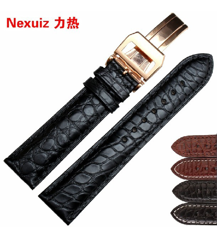 Watchband ,Crocodile Alligator leather watchband strap male19/20/21/22mm Black Brown white stitched Rose gold deployment купить недорого в Москве