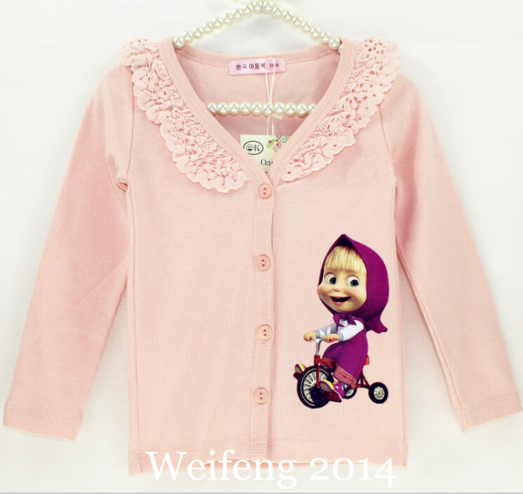 New Design Children Girl Sweaters Cotton Long Sleeve Open