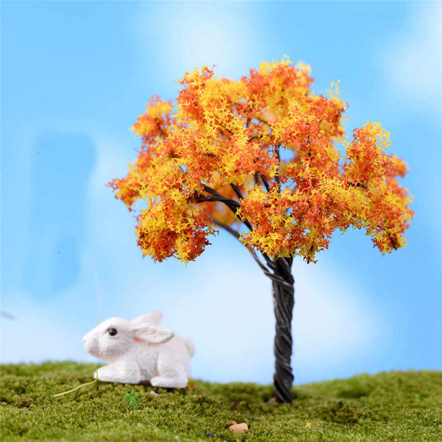 1PC Mini Tree Fairy Garden Decorations Miniatures Micro Landscape Resin Crafts Bonsai Figurine Garden Terrarium Accessories