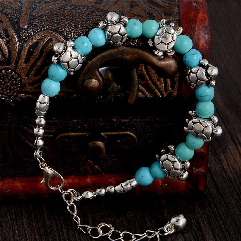 QCOOLJLY 2019 Cute 1pc Cute tortoise Shape Design Hot Sale Lady Woman Silver Color Green Natural Stone Bracelet