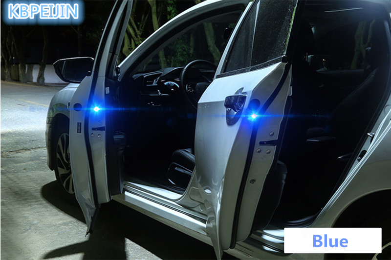 2pcs Wireless LED Car Door Warning Light Flash Signal Light Sticker For Nissan Qashqai Tiida Almera Juke Primera Accessories