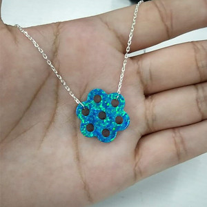 Image 2 - Hill san Lotus 20PCS/Lot  New arrived 20mm 7eyes Hole Synthetic opal necklace