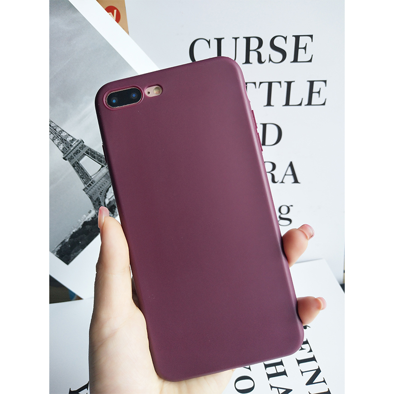candy color case for iphone7 soft TPU phone back cover for iphone7plus case ultra thin matte plain for iphone8 8plus back cover