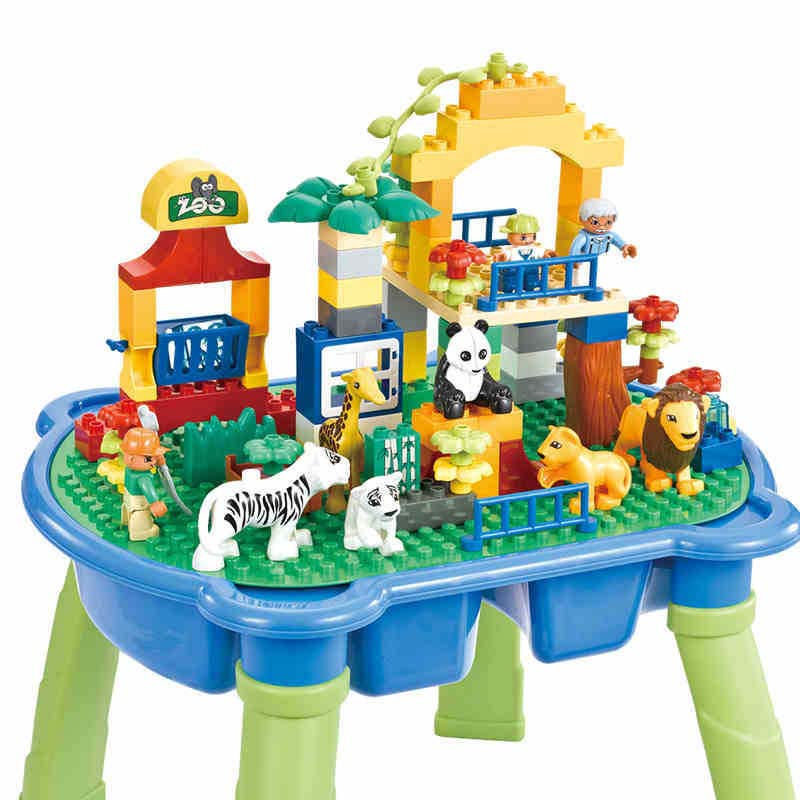 Childrens Toys Multi-functional Building Blocks Puzzle Assembly Large Particles Amusement Park With Tables for Children Toys ...