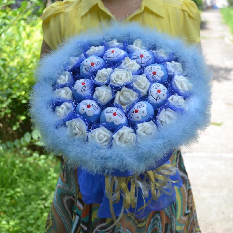 2017 Cute Cartoon 9 Blue Doraemon Jingle Cat 21 White Artificial Rose Feather Bouquet Wedding Decor Girlfriend Birthday Gift D33