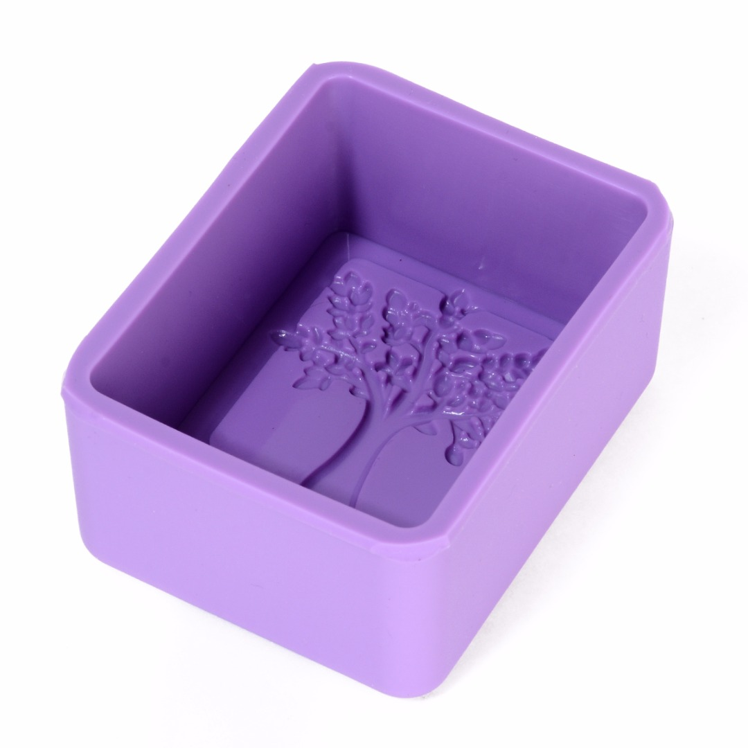 Life Tree Rectangle Soap Mold Craft Kitchen Cake Baking Molds DIY Handmade Silicone Mould Multifunction Random Color