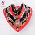 [BYSIFA] Ladies Satin Square Scarves Wraps 2016 New Design Chain Red Black Large Silk Scarf 90*90CM Muslim Scarf Turban Autumn