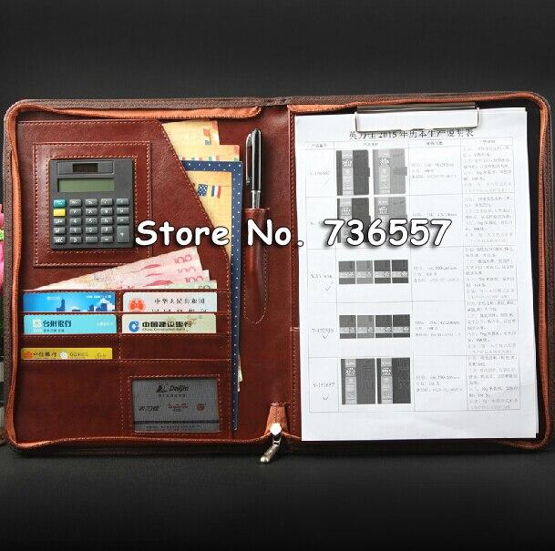 Office A4 PU Leather Zipper Portfolio Business Executive Padfolio Classification Folder Document Clip Holder Calculator Pen
