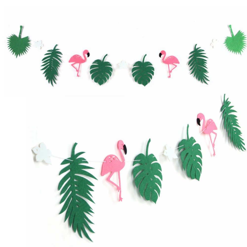 Flamingo and Coconut Leaves Paper Garland Banner B...