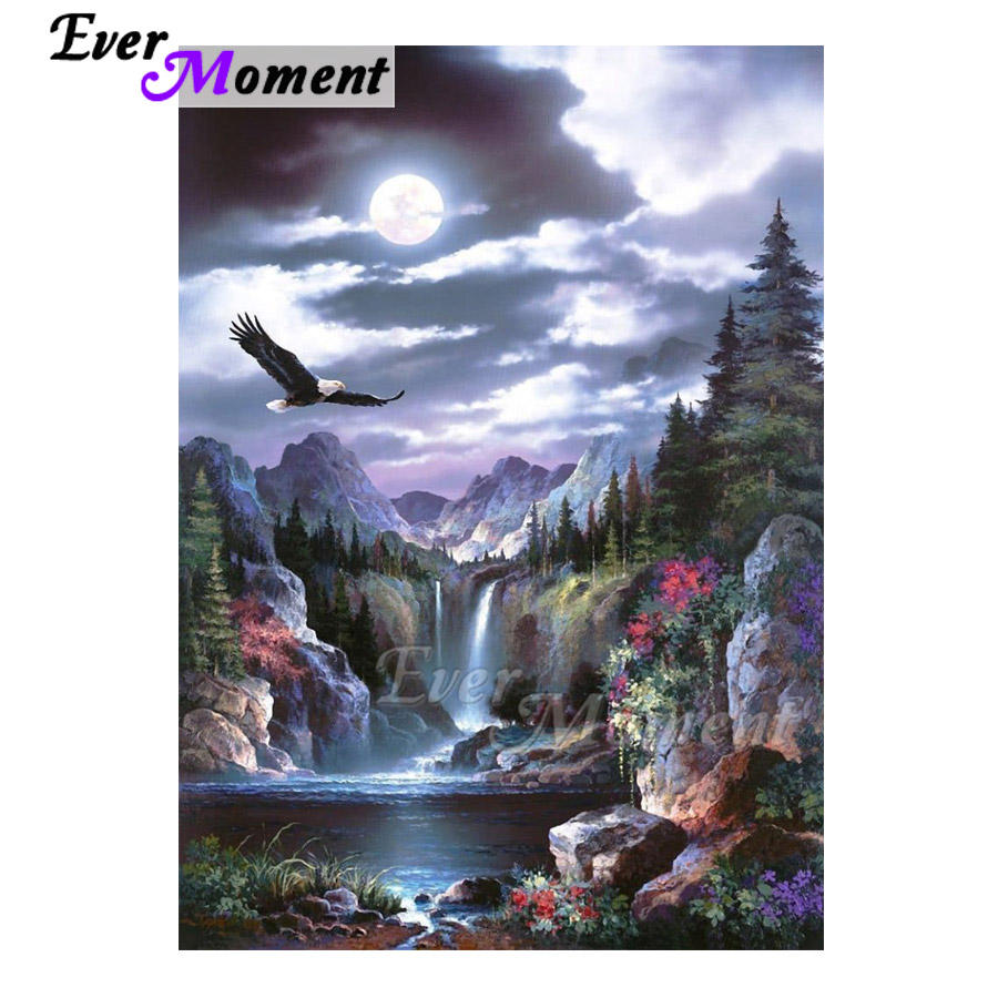 Ever Moment Diamond Painting Landscape Waterfall Eagle Full Square Drill Picture Of Rhinestone Diamond Embroidery 3F1724