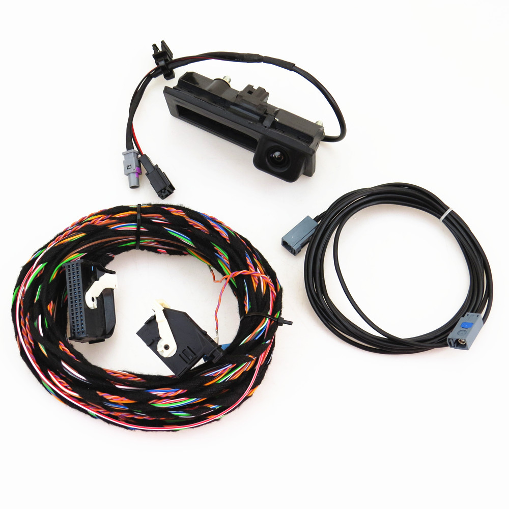 TUKE 12V Rear View Reversing Camera + Cable Harness Pigtail Fit RCD510 RNS310 RNS315 For VW Tiguan 5ND 827 566 C 5ND827566C