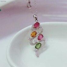 gemstone fine jewelry factory wholesale unique shape 925 sterling silver natural tourmaline charm pendant necklace for women цена 2017