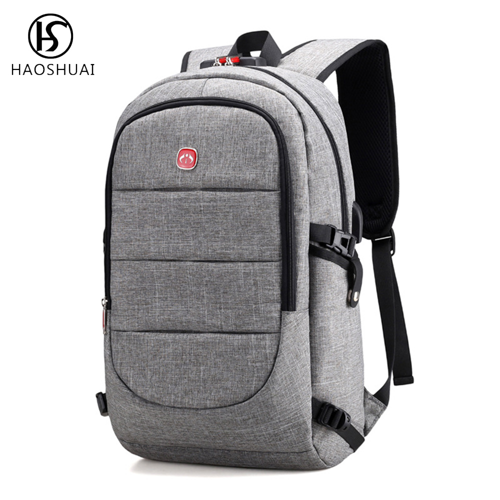 Haohuai Men Computer Backpack Usb Charging Port Back Pack Anti Theft Laptop Backpack 15.6 Travel Daypack for Men