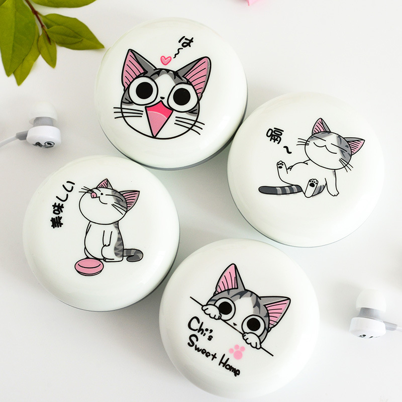 New Cute Cat Earphones 3.5mm in-ear Stereo Headphone with Microphone Earphone Case Universal for Mobile Phone Girls for MP3 Gift