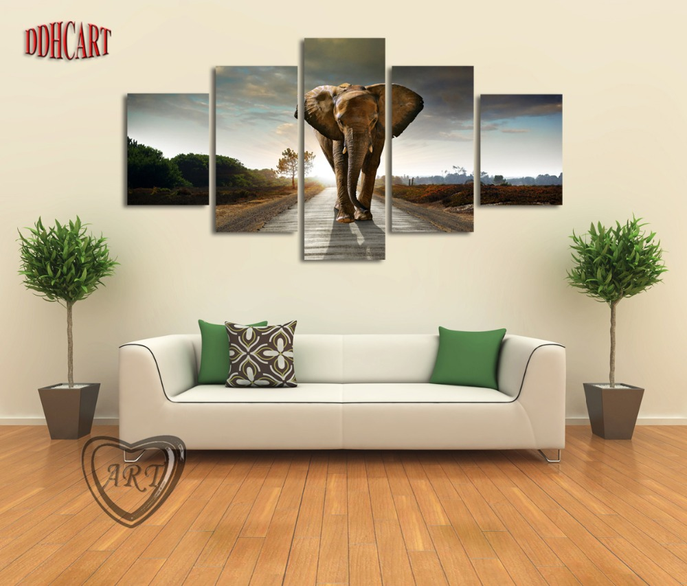 Wall Art For Living Room 5 Piece Elephant Painting Canvas Wall Art Picture Home Decoration