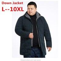 Брендовая Утепленная зимняя куртка пуховик для мужчин свет с капюшоном костюмы черный зеленый пальто плюс размеры 10XL 8XL 6XL 4XL
