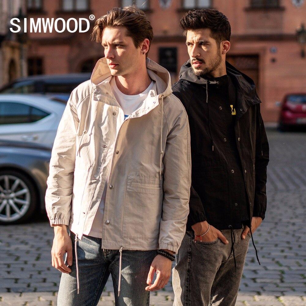 SIMWOOD 2019 New Spring Jackets Men Casual Brand Thin Coats Fashion Slim Male Black Windbreaker Jackets Wear Outside 180301