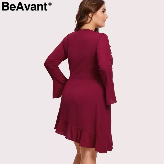 BeAvant Elegant ruffle v-neck plus size women dresses 2019 Long flare sleeve summer dresses Causal short ladies dress vestidos 2