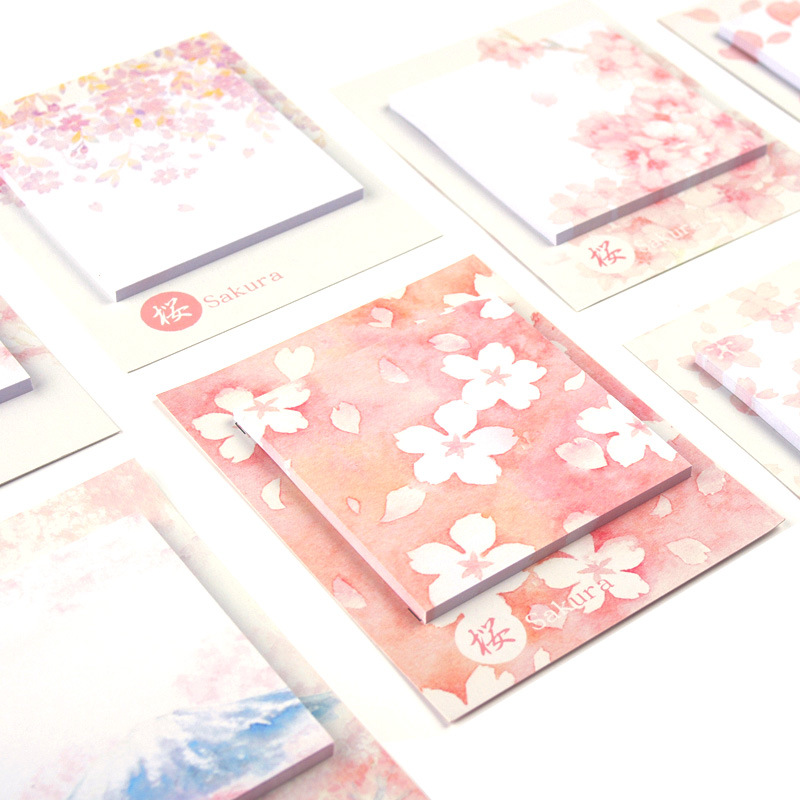 Romantic Sakura Beautiful Flowers Self-Adhesive N Times Memo Pad Sticky Notes Bookmark School Office Supply