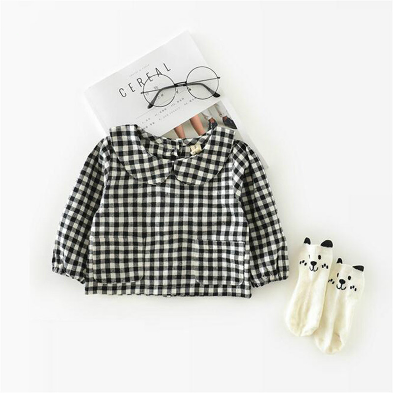 Korean Autumn Baby Girls Blouses Cotton Leaf Collar 0-3 Y Baby Girl Plaid Shirt Children Girl Top Blouse Girls School Blouses