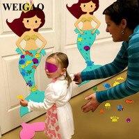 Weigao 1 مجموعة حزب حورية البحر لعبة للأطفال عيد سعيد عيد إمدادات حزب زينة لعب الطفل دش حزب ألعاب الإبداعية