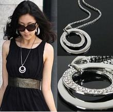 Long Chain Women Fashion Crystal Rhinestone Chunky  Silver Plated Double Circle Pendant Necklace