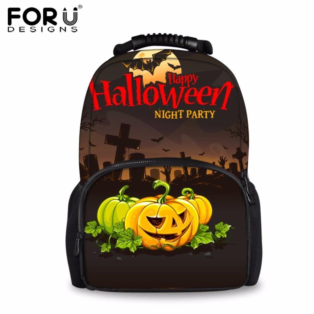 FORUDESIGNS 2017 Halloween Pumpkin Children Fun School Bags Large Kids Boys Casual Book Shoulder Bags Bolsa Student Schoolbags