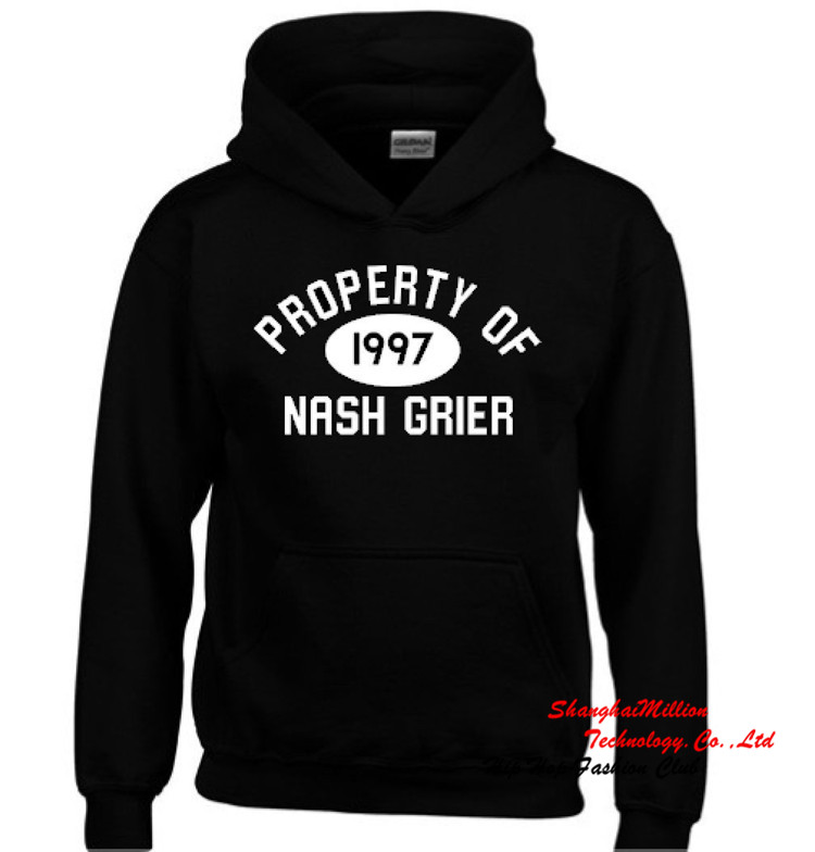 Property of Nash Grier 1997 Logo Fleece Hoodie customized Cameron tumblr youtube vine Sweatshirt S-3XL NGN036TT