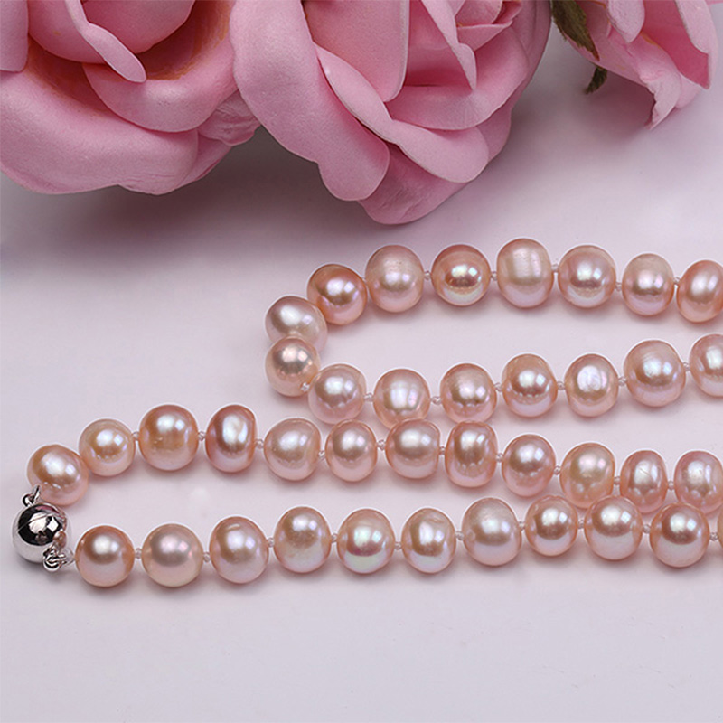 "HTB1ozSrFDlYBeNjSszcq6zwhFXa8 JYX Updated Genuine Purple Pink 8-9mm Real Round Cultured Freshwater Pearl Necklace 18"" mother gift necklace pearl"