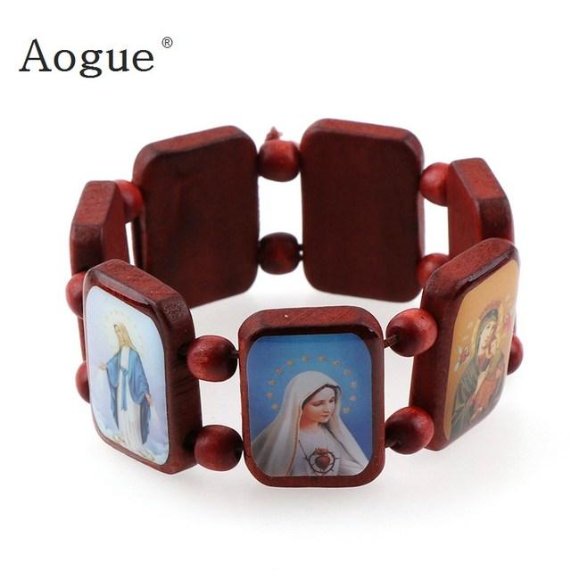 Elasticated  Dark Red Wood Bracelet with Small Square Enamel Catholic Saints Images