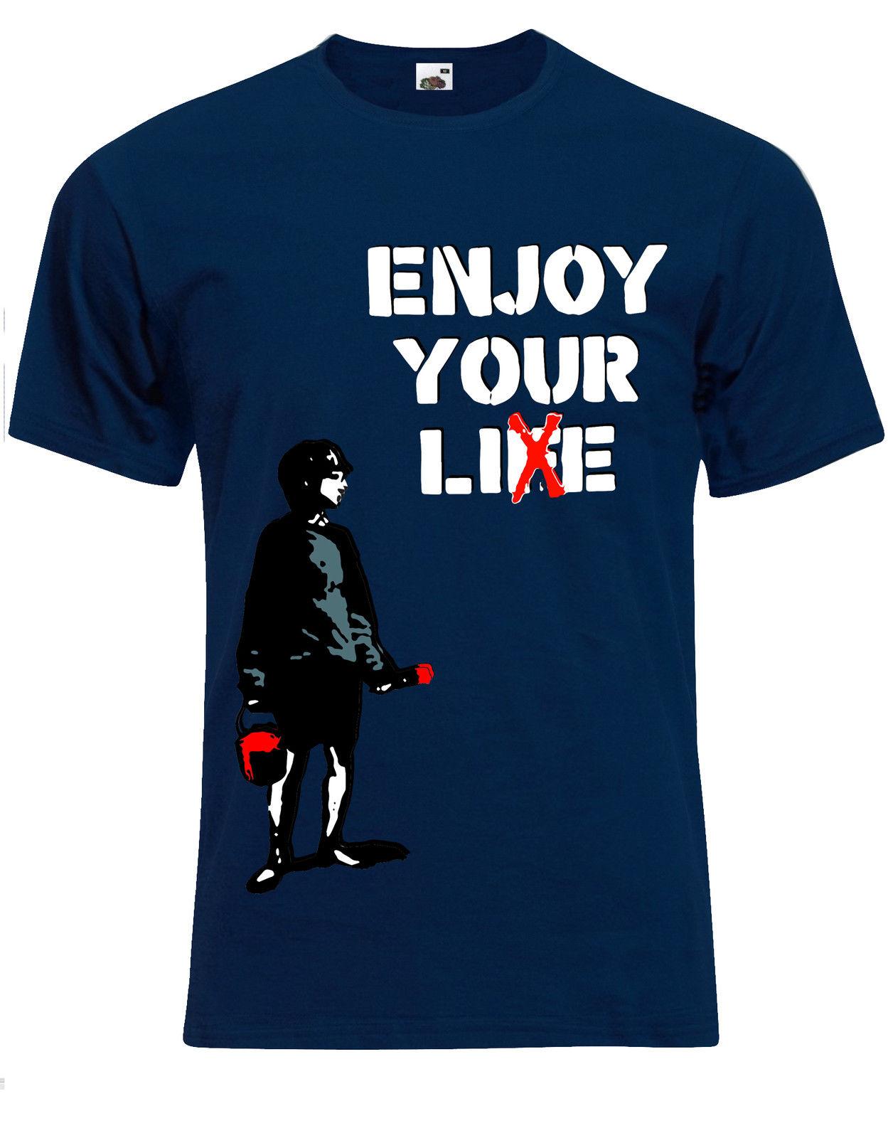 Banksy Enjoy Your Life 'Living A lie' London Street Art Mens Tshirt Tee Top AG72