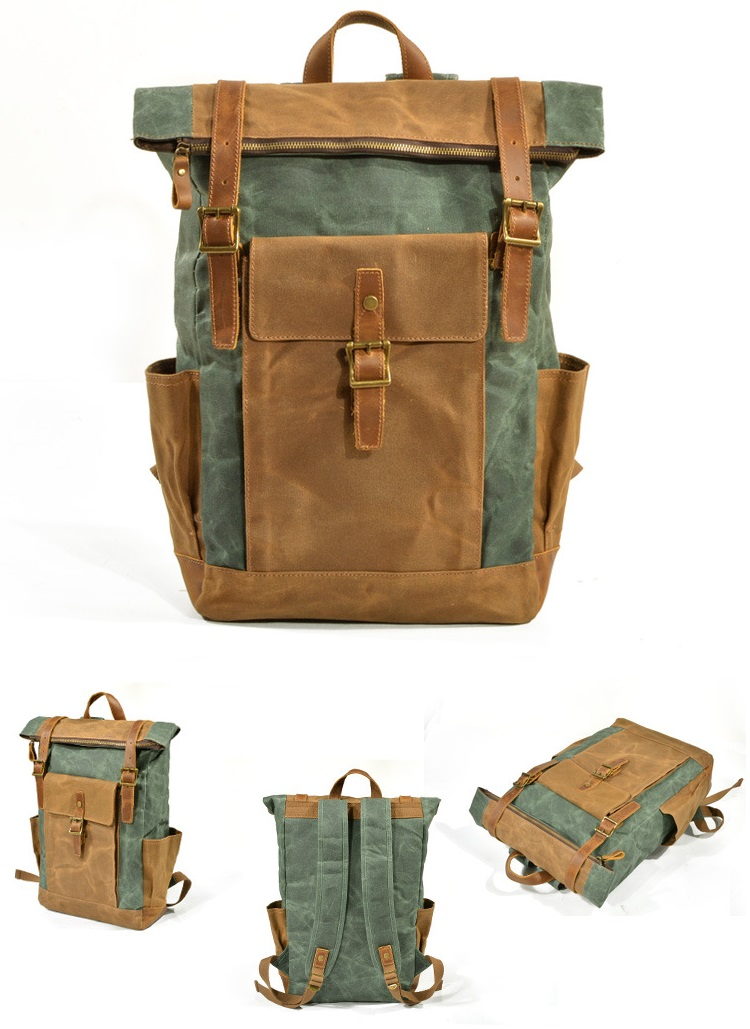 Bagpack lona do vintage mochila portátil de