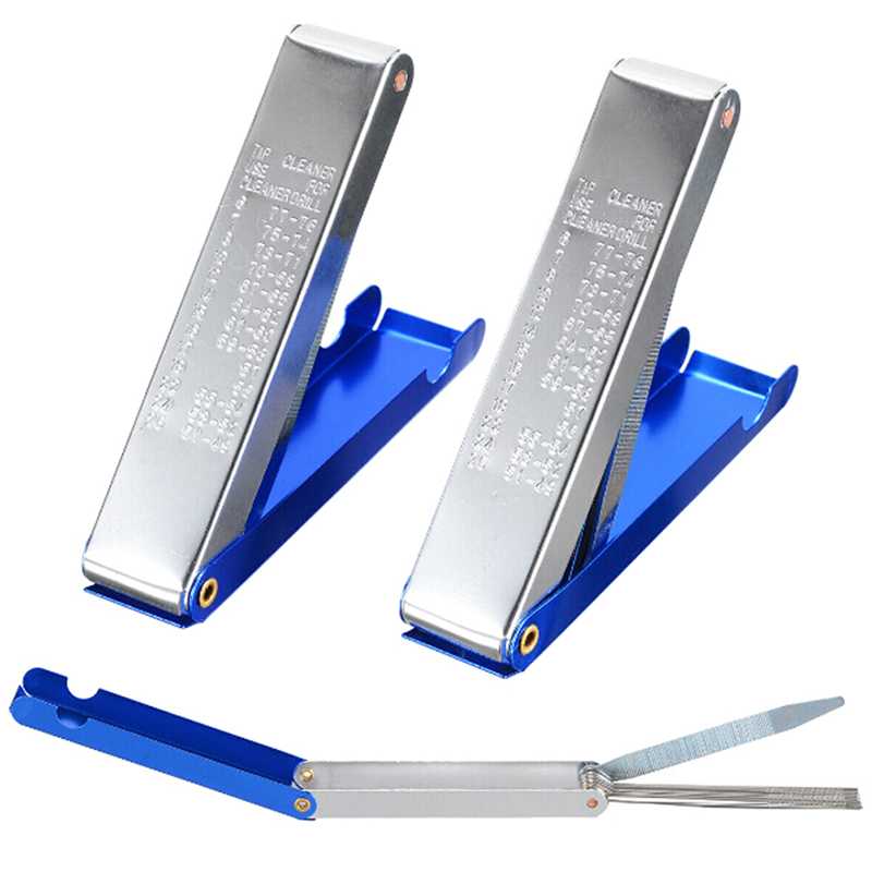 2pcs/set Blue Welding Torch Nozzle Tip Cleaner Tool File Needle Welding Torch Tip Portable 13 In 1 Aluminum Nozzle Cleaner