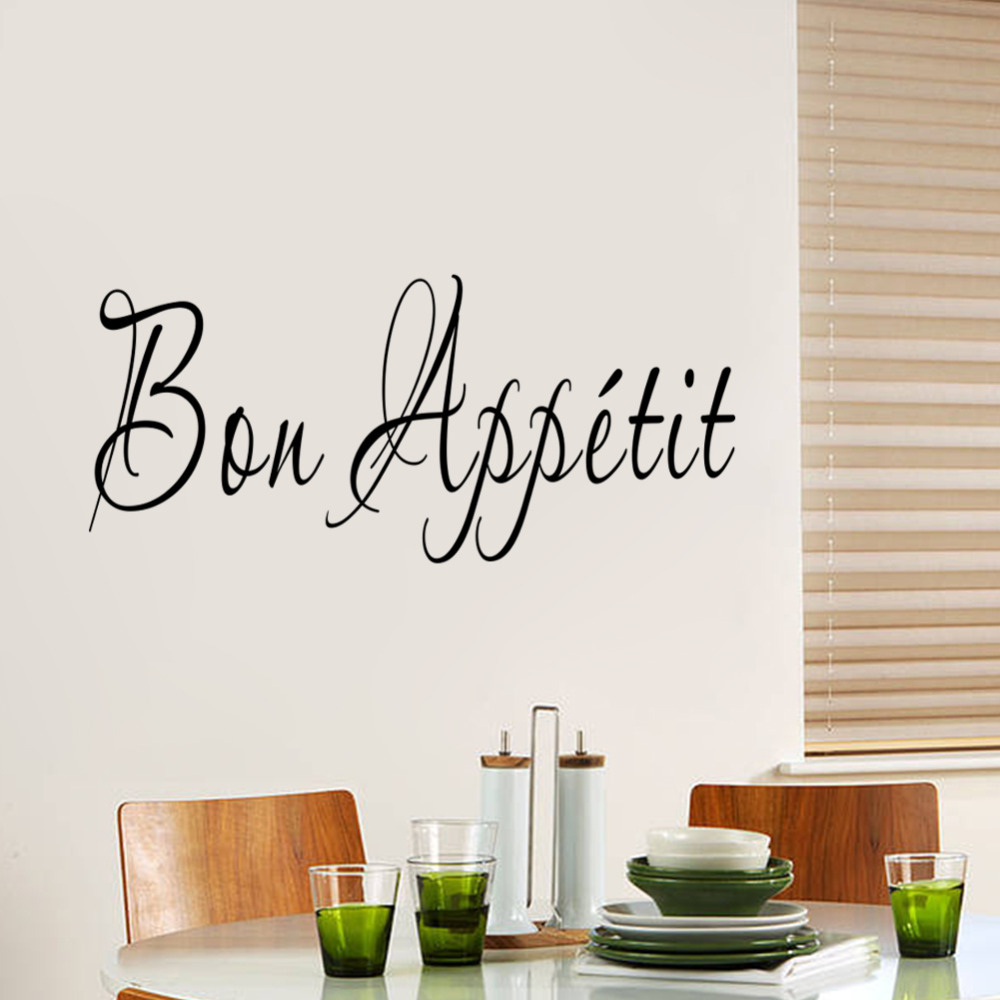 Kitchen quot Bon Appetit quot Art Quote Living Room Kitchen Vinyl Wall Mural Decal Sticker Home decoration 8513 in Wall Stickers from Home amp Garden