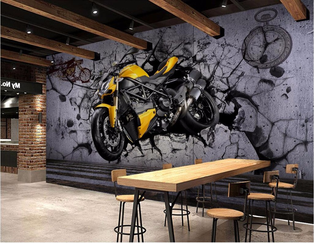Online Shop 3d wallpaper picture Yellow motorcycle broken wall home